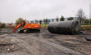 Removed 45,000 litre derv tank ready for disposal